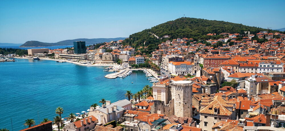 Old town of Split in Dalmatia, Croatia. Split is the famous city and top tourism destination of Croatia and Europe.