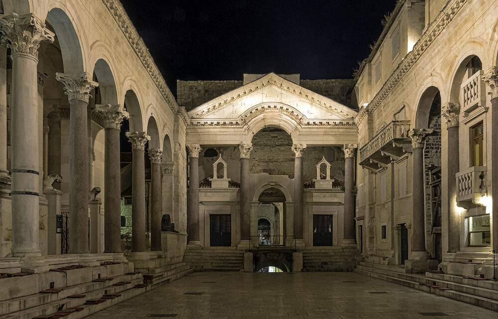 SPLIT, DALMATIA, CROATIA - Roman Emperors Palace by night in historic city of Split in Split, Dalmatia, Croatia