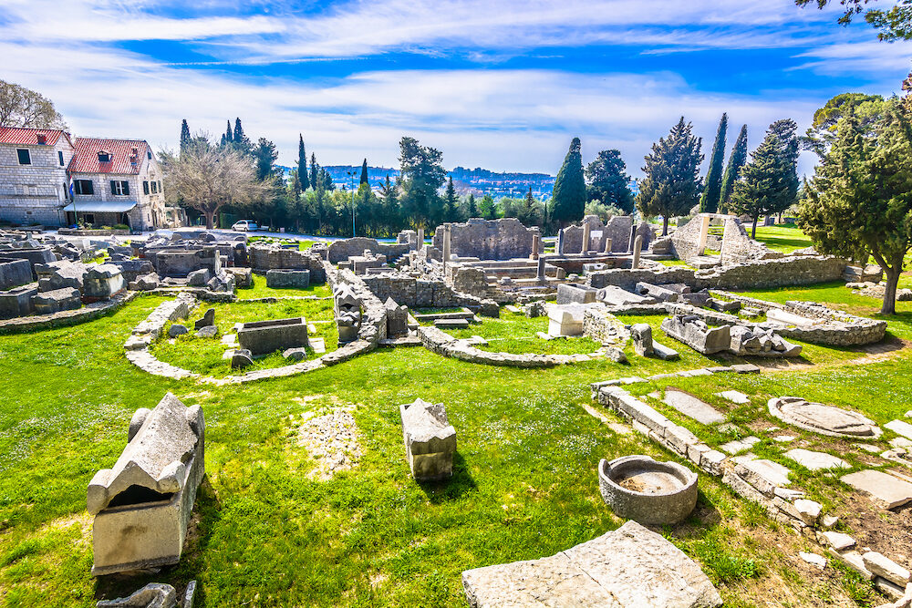 Scenic view at Salona old ruins cemetery called Manastirine in suburb of town Split, Croatia.