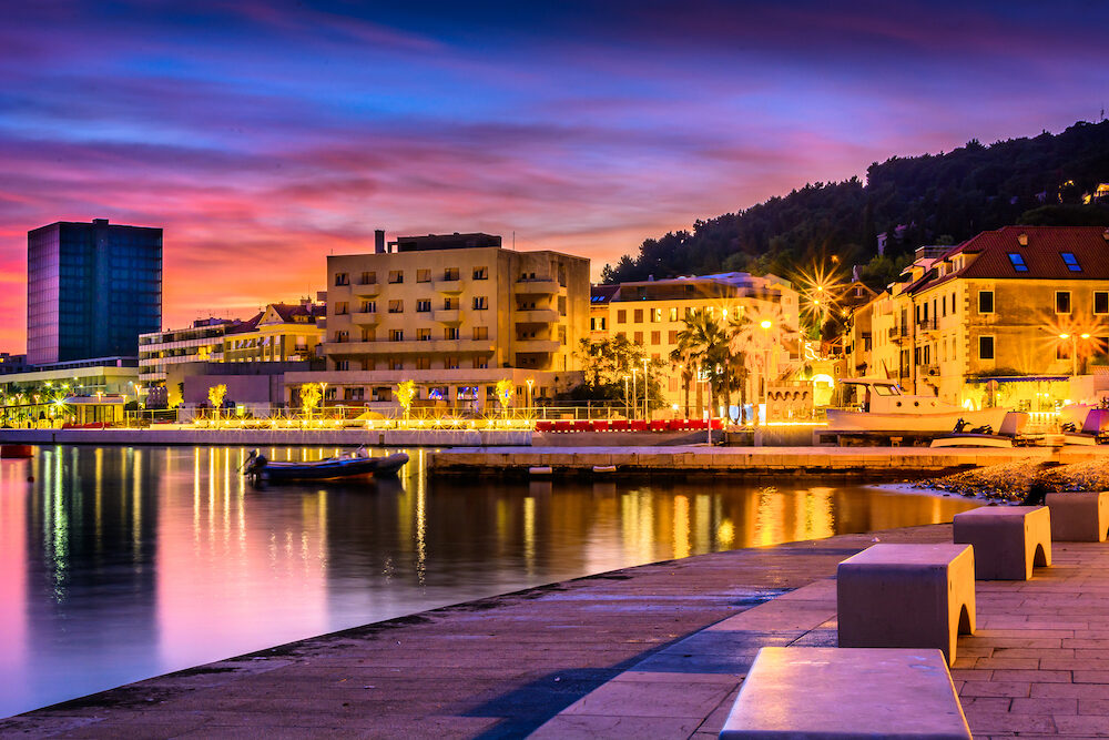 Scenic view at city center in town Split, popular mediterranean touristic destination on Adriatic Coast, Croatia Europe.