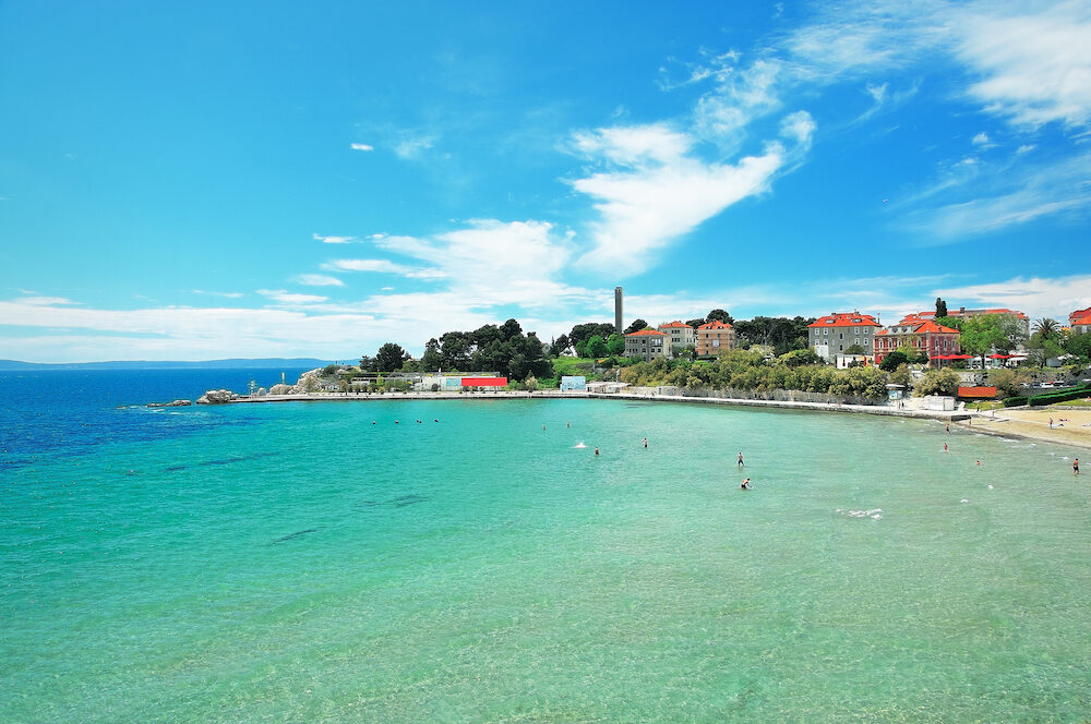 bacvice bay and beach in the city of split in croatia dalmatia