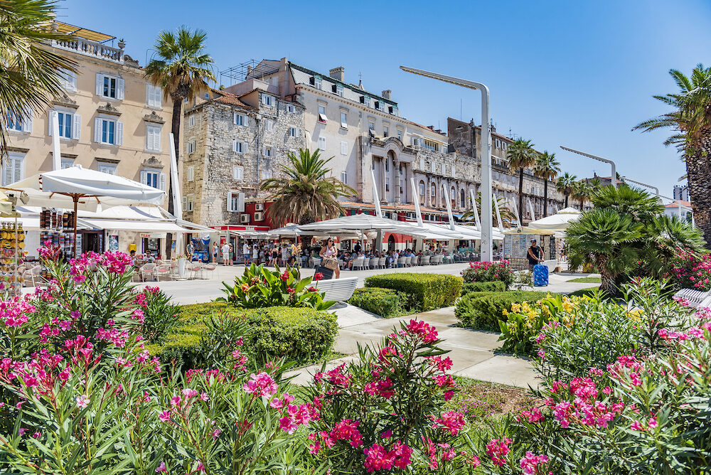SPLIT, CROATIA - The embankment of the resort town of Split in summer.