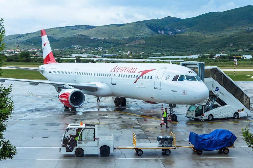 Split Airport Croatia -Austrian airlines Airbus on the tarmac