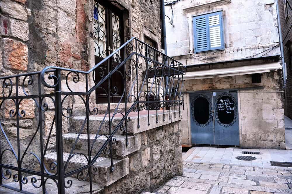 SPLIT, CROATIA - Entrance to the local cafe in Split city, Croatia. Split is a capital of Dalmatia region of Croatia.