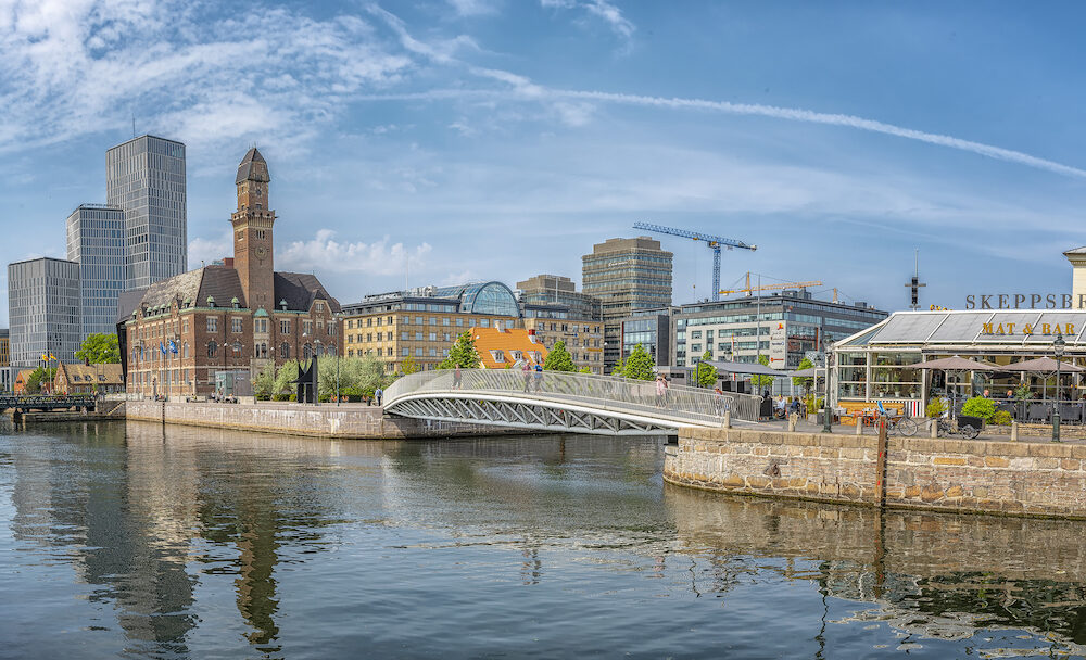MALMO, SWEDEN - : Cityscape of old and new architecture in Malmo, Sweden. After Stockholm and Gothenburg, Malmo is the 3rd most visited city in Sweden.