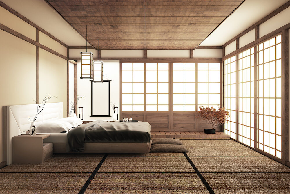 Modern peaceful Bedroom. zen style bedroom. serene bedroom. Wood bed with tatami floor japanese style.