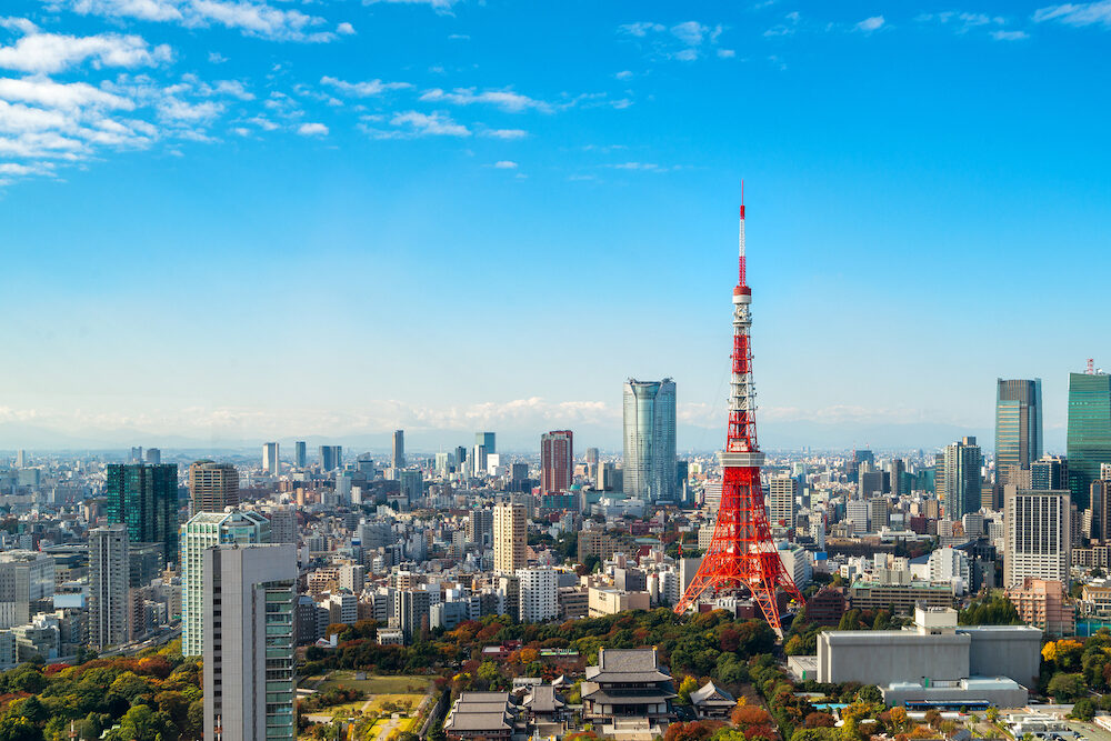 Tokyo tower Japan. Tokyo City Skyline. Asia Japan famous tourist destination. Aerial view of Tokyo tower. Japanese central business district downtown building and tower in Tokyo Japan cityscape.