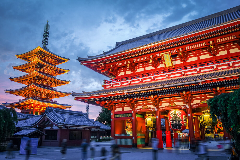 Kaminarimon gate and Pagoda at night, Senso-ji temple, Tokyo, Japan