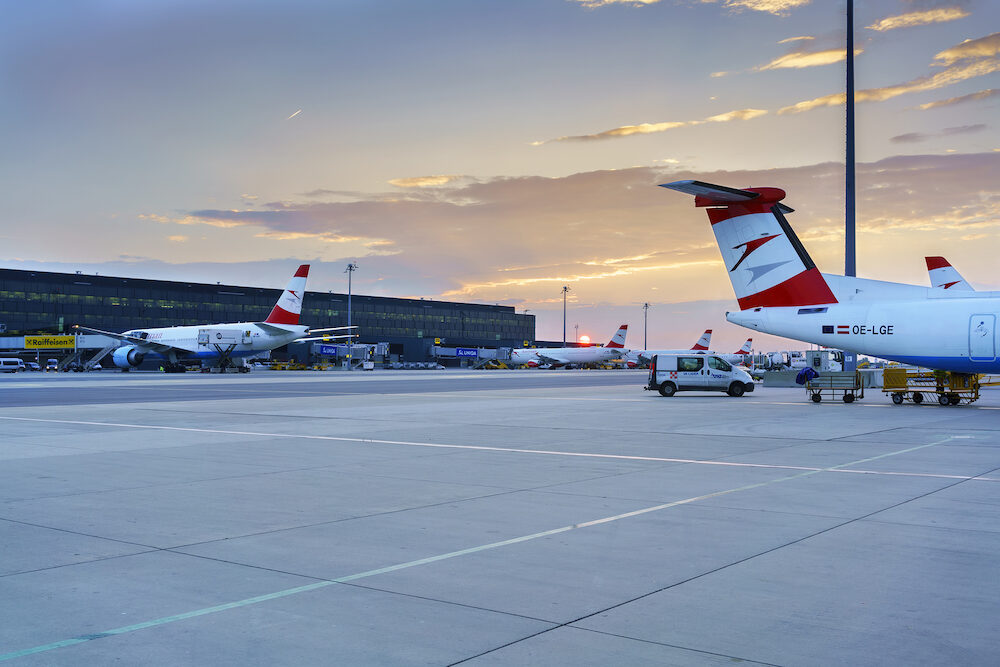 Vienna , Austria - Beautiful sunrise at Vienna International Airport