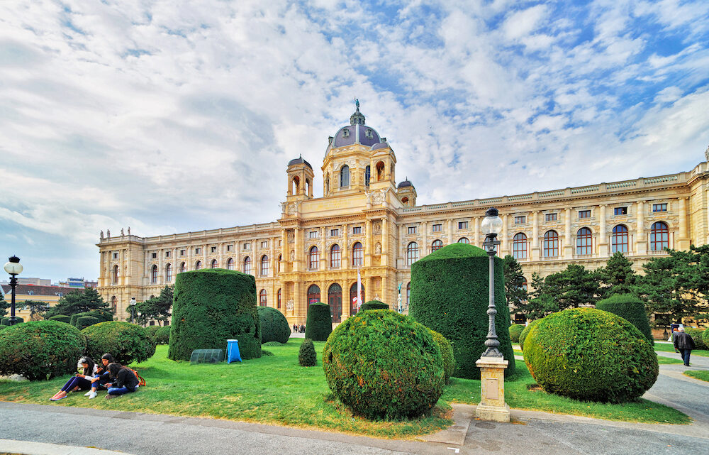 VIENNA, AUSTRIA - Beautiful view of world famous Naturhistorisches or Natural History Museum, with park on the Ring strasse. Exterior view from Maria Theresa Square