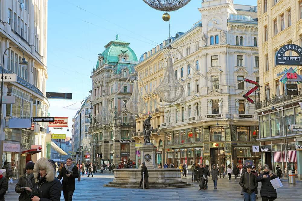 VIENNA, AUSTRIA - Graben, a famous pedestrian street of Vienna with a Plague Column, Austria