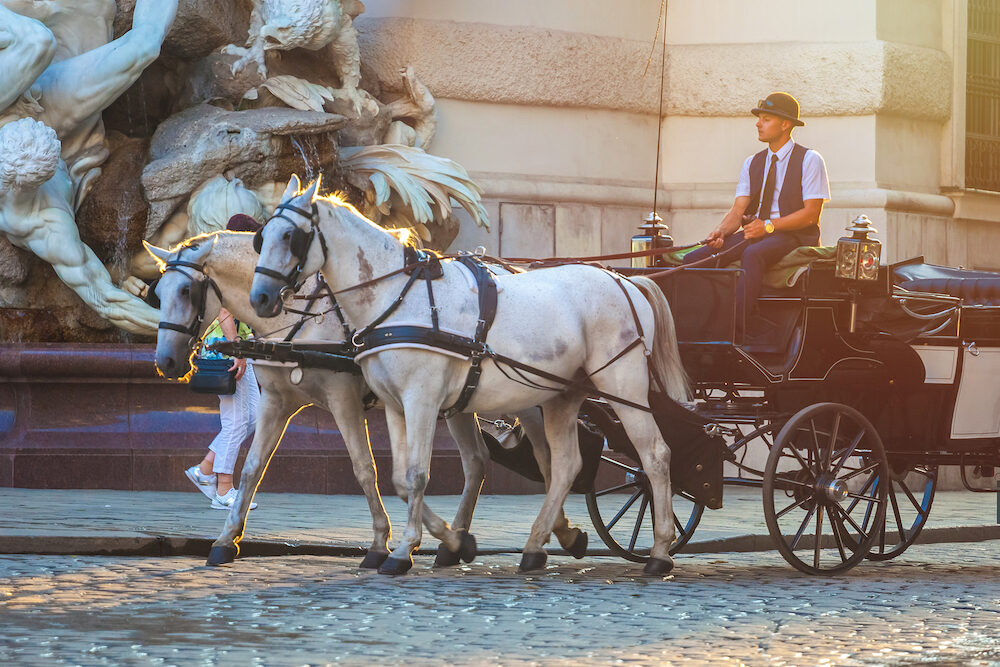 Vienna, Austria - Horse-drawn carriage or Fiaker, popular tourist attraction, on Michaelerplatz in Vienna.