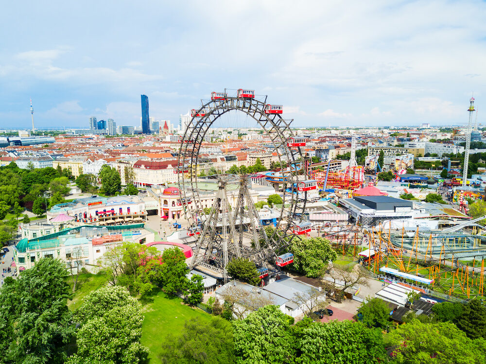 VIENNA, AUSTRIA - The Wurstelprater or Wurstel Prater aerial panoramic view. Wurstelprater is an amusement park and section of the Wiener Prater in Vienna, Austria.