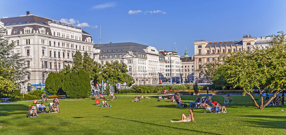 VIENNA AUSTRIA - : people relax at Sigmund-Freud Park in Vienna Austria. In 1961 the park in Alser was renamed to Sigmund -Freud Park.