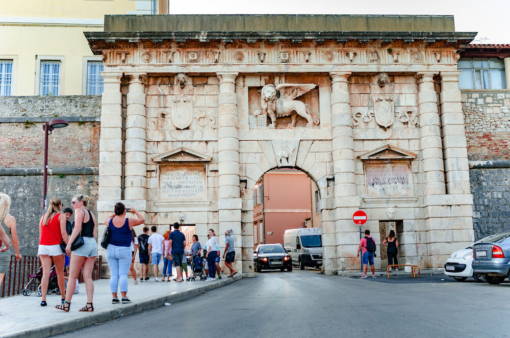 ZADAR, CROATIA - Old city gate in old town in ZADAR, CROATIA