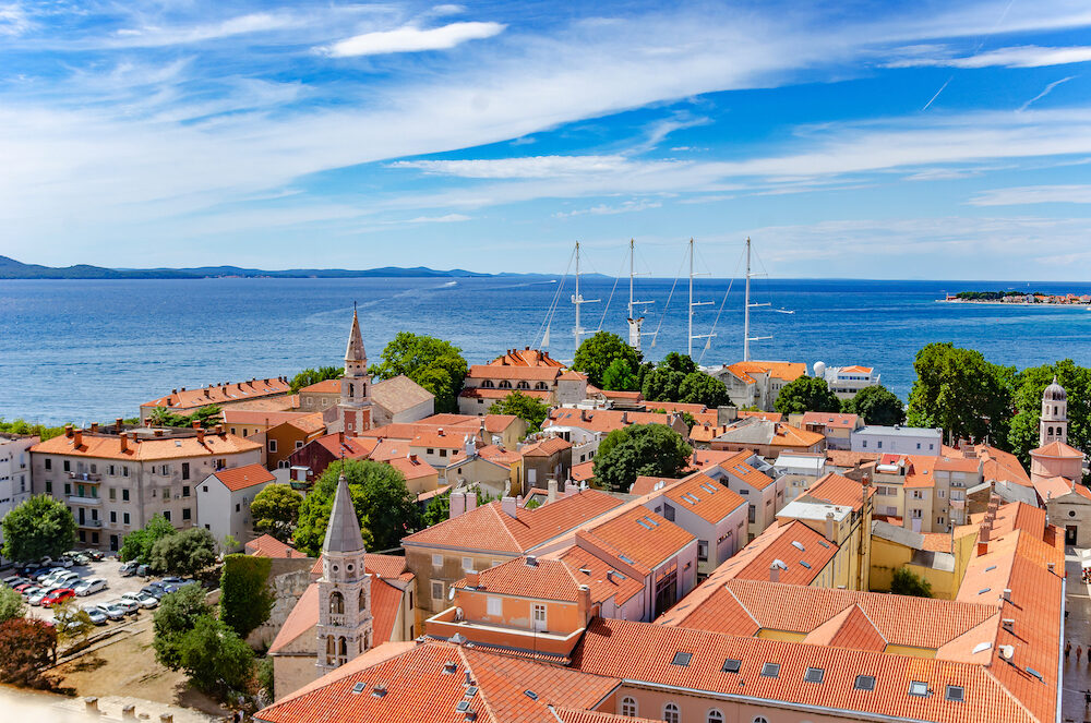 Zadar city from tower. Zadar is famous tourist spot at Adriatic sea coast in Croatia.