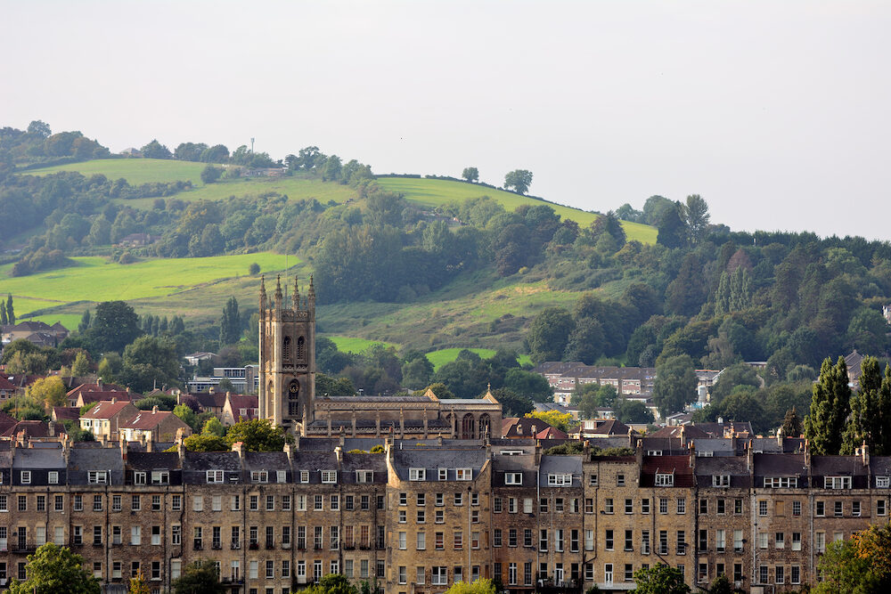 Buildings to the north of the UNESCO world heritage city of Bath, with St. Saviour's church in Larkhall visible