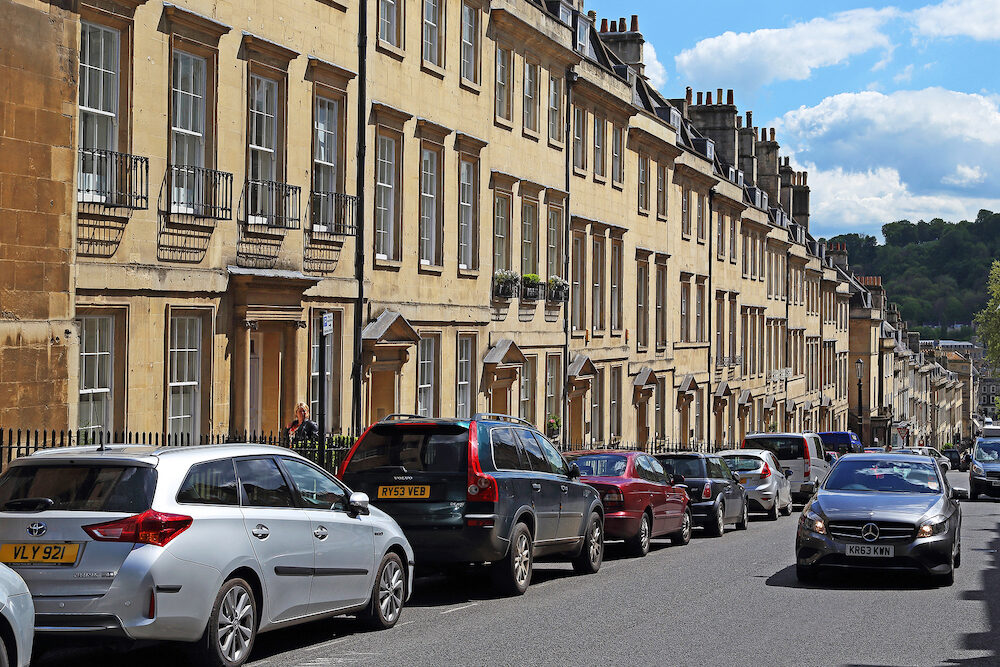 BATH, GREAT BRITAIN - : This is one of the streets of the historic center of the city, which is a unique in its unity architectural ensemble in the neoclassical style.