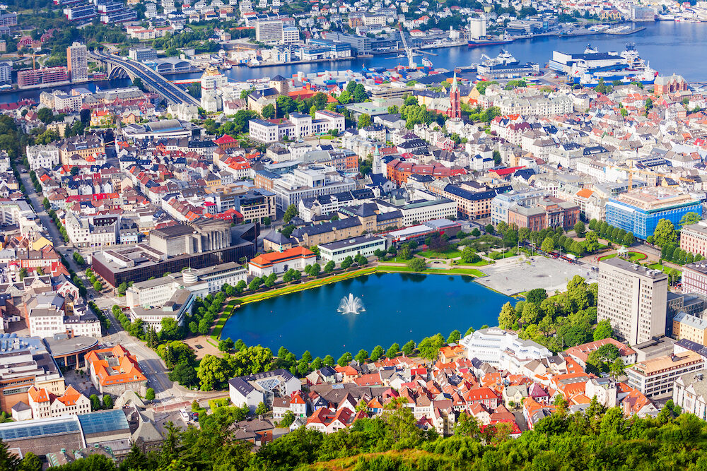 Bergen aerial panoramic view from Mount Floyen viewpoint. Bergen is a city and municipality in Hordaland, Norway.