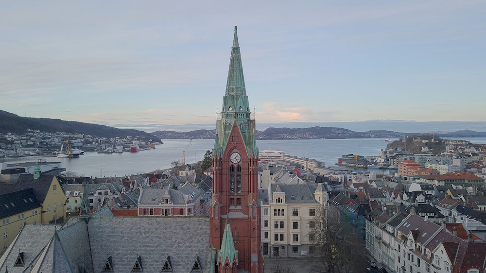 Photo of the church , next to the university of Bergen
