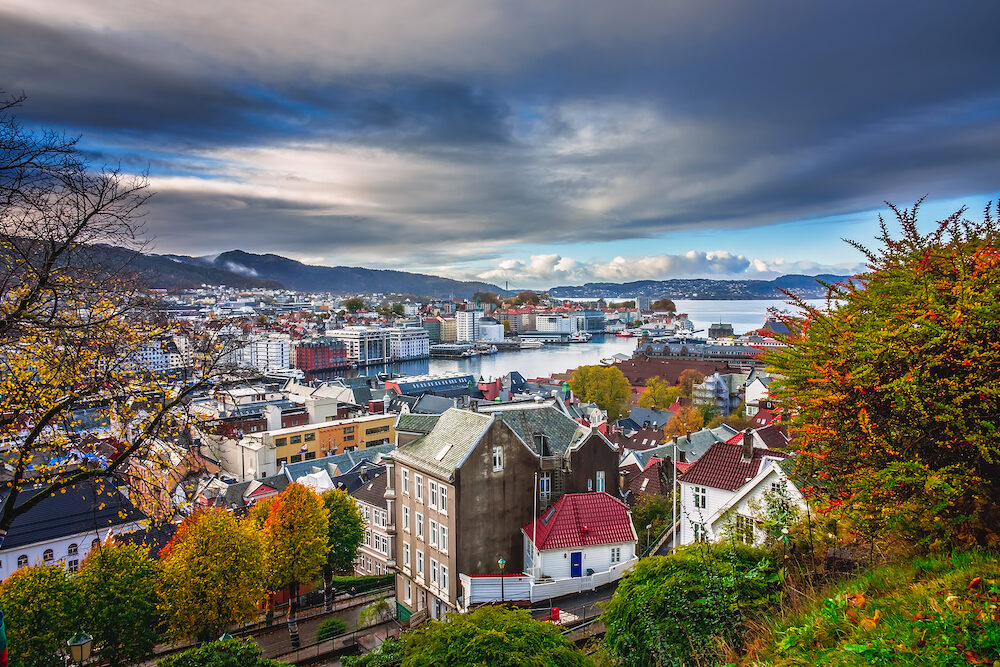 View of the beautiful Bergen bay in autumn, Norway