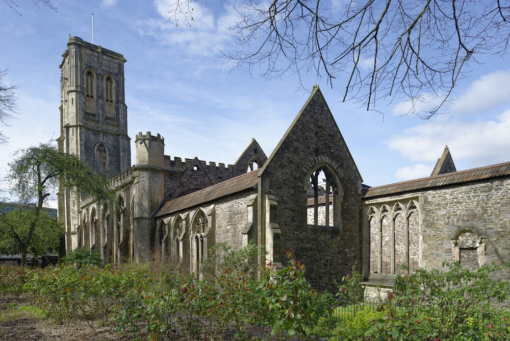 Ruin of Temple Church, Victoria Street, Bristol Bombed during WW2