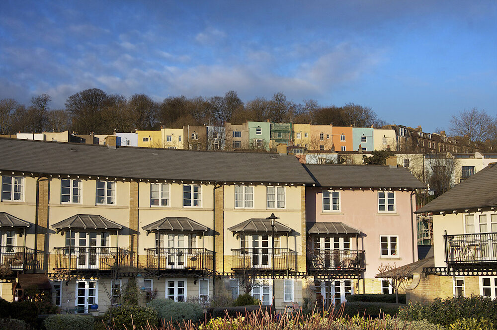 Terraces of colourful houses, Bristol, UK