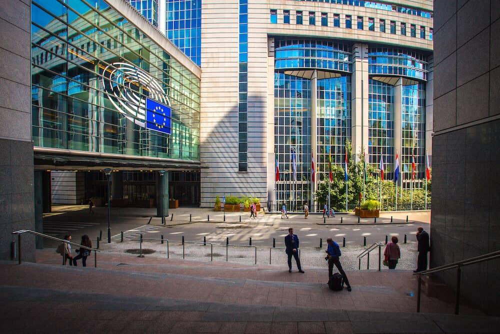 Brussels, Belgium - : European parliament exterior. EU parliament in Brussels, Belgium. Brussels sightseeing.