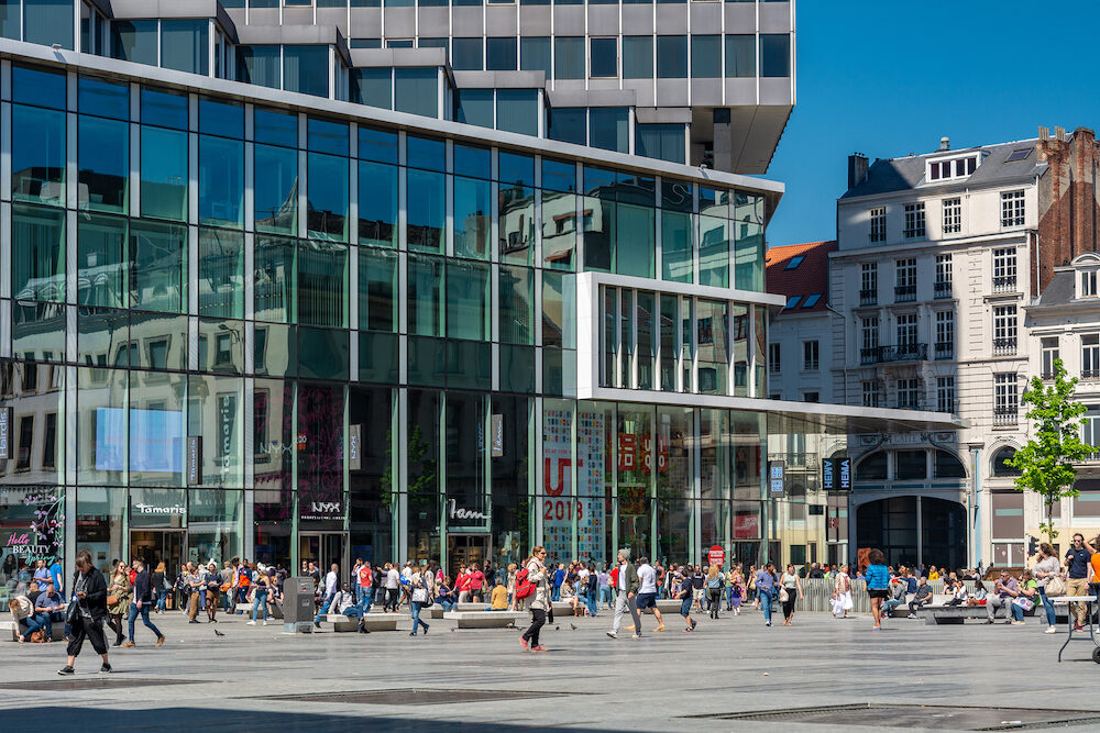 Brussels, Belgium - People doing their shopping on Mint Square (Place de la Monnaie) in Brussels.