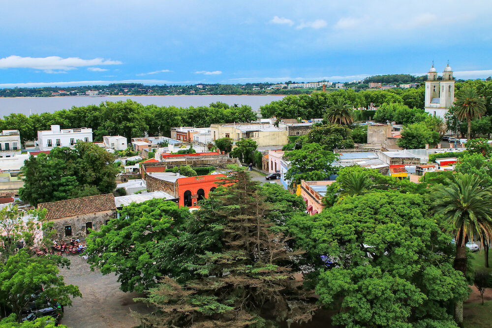 Aerial view of Colonia del Sacramento, Uruguay. It is one of the oldest towns in Uruguay
