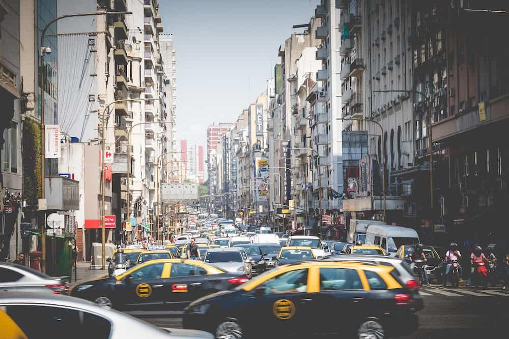 BUENOS AIRES, ARGENTINA - Corrientes Avenue in Buenos Aires, Argentina.