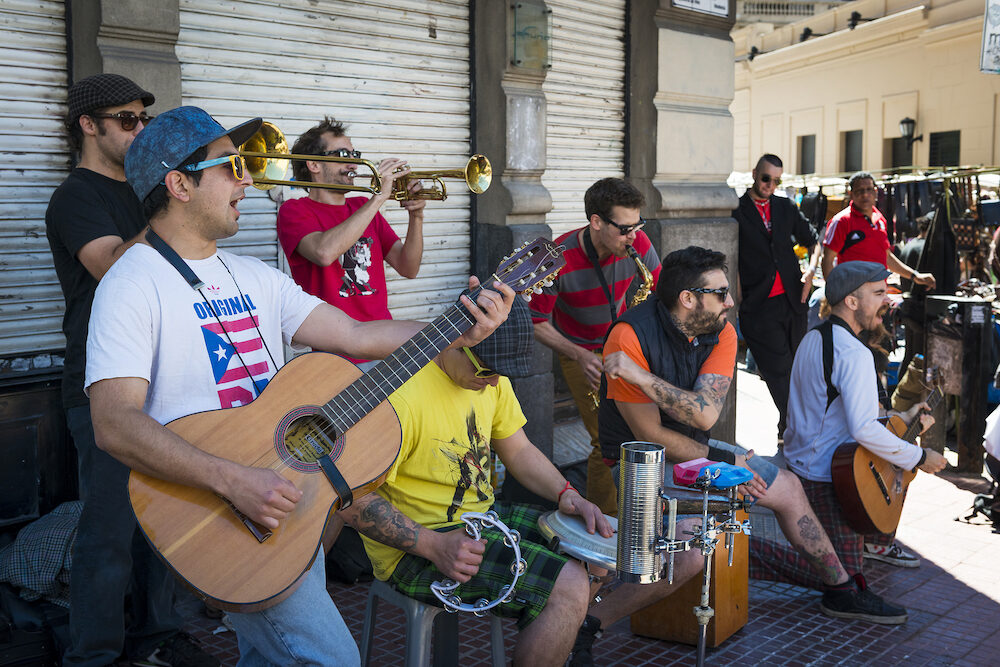 Buenos Aires Argentina - Street musicians playing in a street in the San Telmo neighborhood in the city of Buenos Aires in Argentina