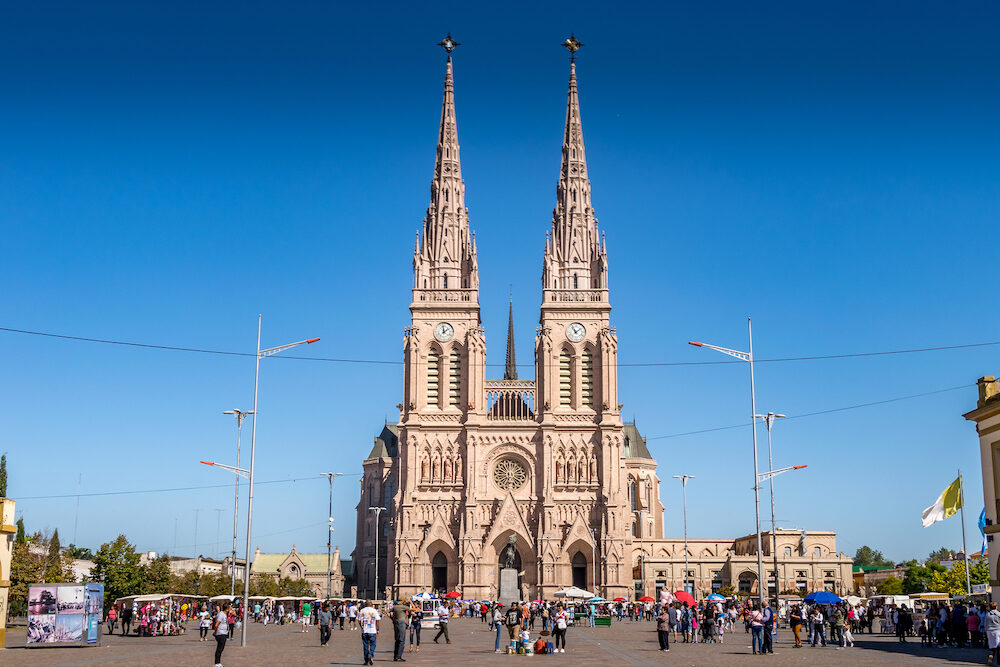 Lujan, Buenos Aires, Argentina. View of gothic Lujan Basilica near Buenos Aires, Argentina