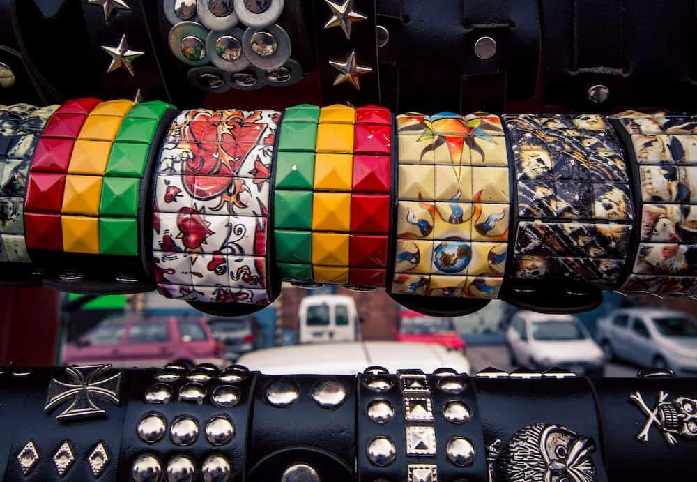 handmade leather bracelet for sale at the feria de mataderos