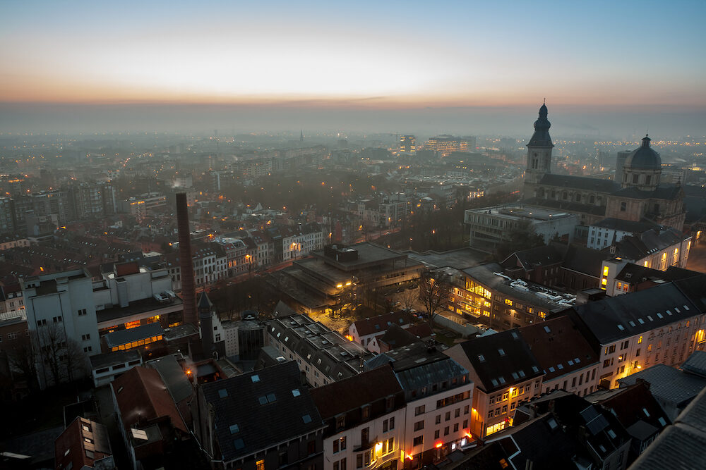 At sunrise with a beautiful view over Ghent with Sint Peter's Abbey and St. Peter's Square