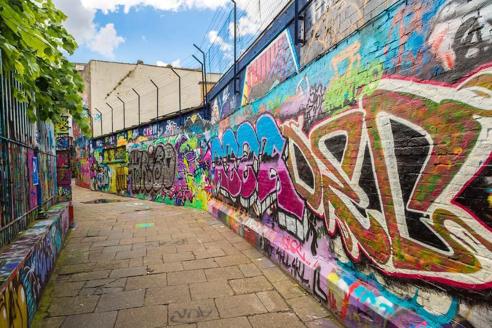 GENT BELGIUM - Graffiti street in Gent in a beautiful summer day Belgium