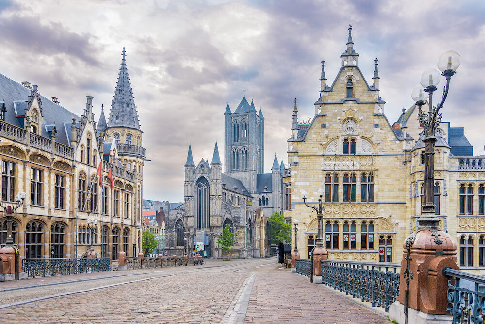 GHENT,BELGIUM - - In the morning streets of the Ghent. Ghent is a city and a municipality in the Flemish Region of Belgium.