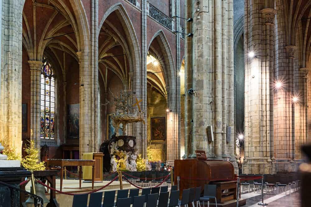 Ghent / Belgium - Interiors of Saint Nicholas Church in Ghent, Belgium in Christmas decorations