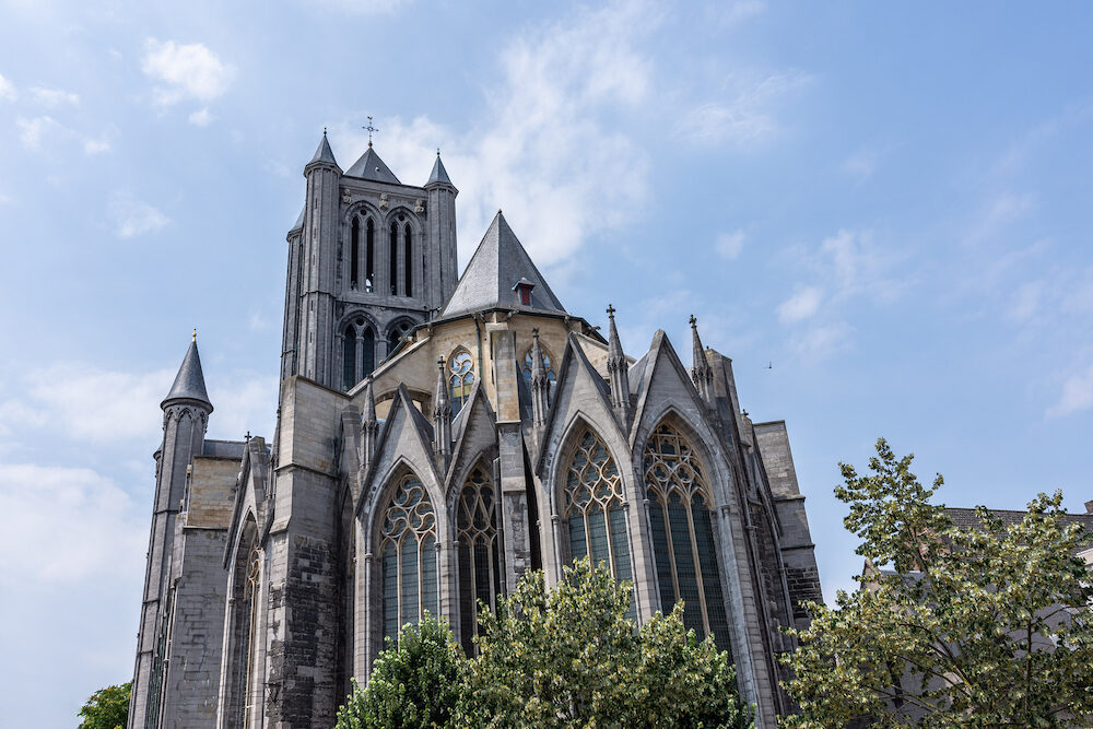 The Saint Bavo Cathedral (Sint-Baafs Cathedral) in Ghent, historical city of Belgium, on a sunny day