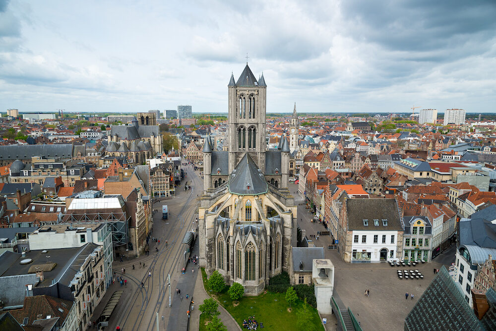 Ghent, Belgium - View on the center of Ghent with Saint Nicholas Church in Belgium, from the Belfry tower