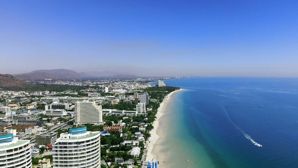 Top view of the beautiful seascape in Hua Hin in Prachuap Khiri Khan Province, Thailand, aerial view on the coastline, sea and the city of Hua Hin