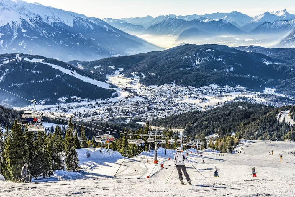 Skier skiing on Seefeld Ski Resort in Tyrol Austria Alps