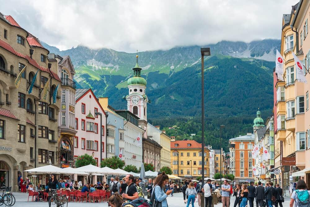 INNSBRUCK, AUSTRIA - Tourists on foot Graben in Old Town Innsbruck, Austria