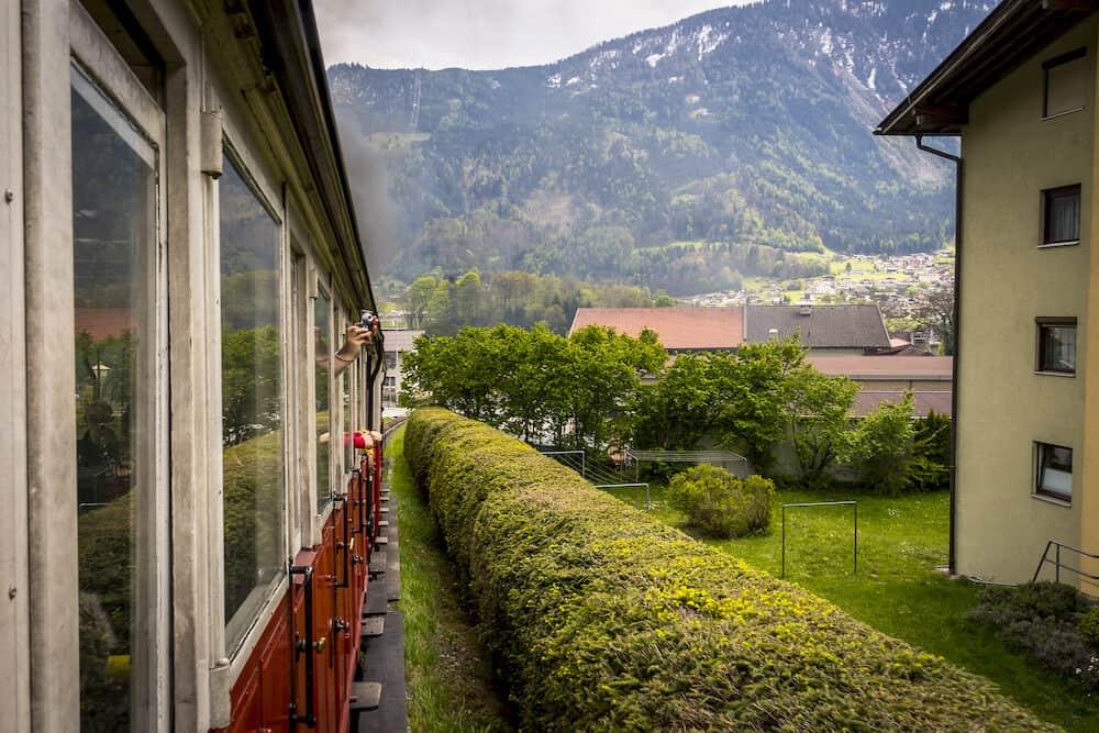 Zillertal Railway tourist train through alps of Austria