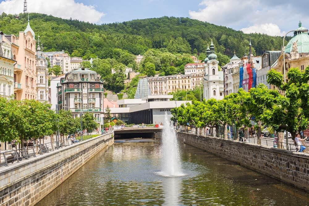 KARLOVY VARY, CZECH REPUBLIC - Karlovy Vary view from river Tepla