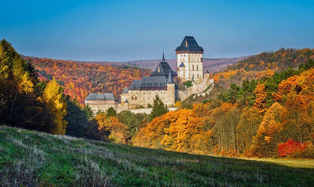 Karlstejn gothic castle near Prague, the most famous castle in Czech Republic, autumn season