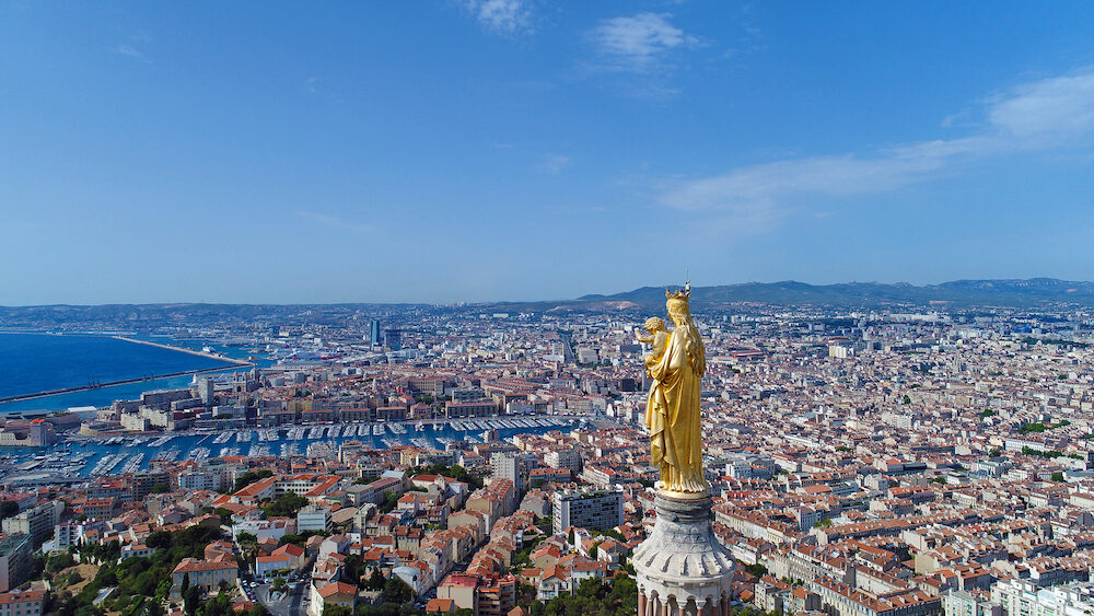 Aerial view of Notre Dame de la Garde basilica in Marseille city center, France
