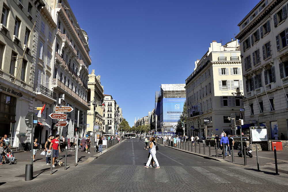 MARSEILLE, FRANCE -  Beginning of the great and famous avenue of La Canebiere from the old port of Marseille