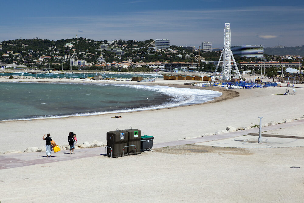 "That beach is located between ""La Pointe Rouge"" and ""Le Roucas Blanc"""