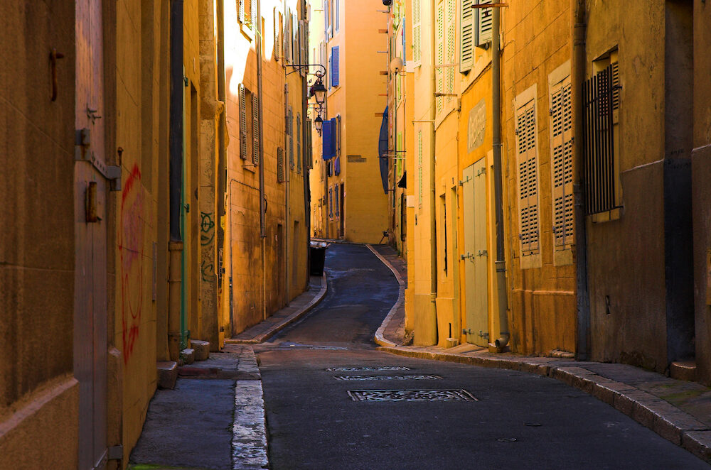 bend streets in the old port part of marseille france